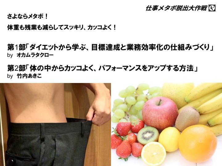 【満員御礼】2015/10/25 仕事メタボからのダイエット&パフォーマンスをアップするセミナー